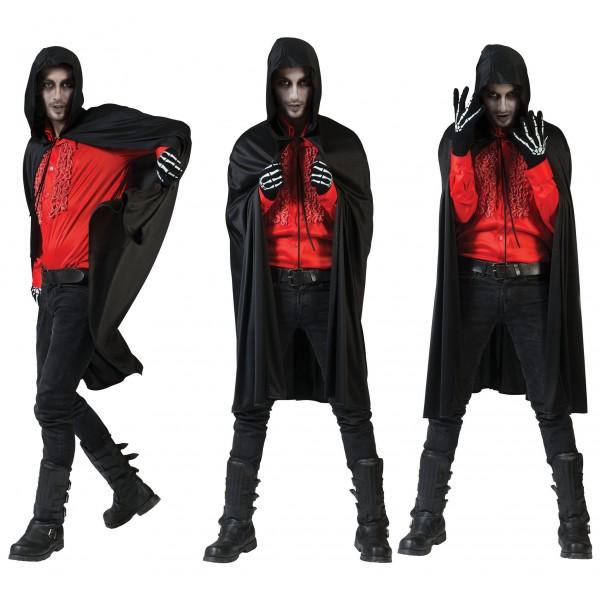 Zwarte Cape - Verkleedkleding Halloween - Kostuum Unisex
