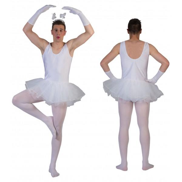 Witte Ballerina - Bachelor Verkleedkleding - Kostuum Man