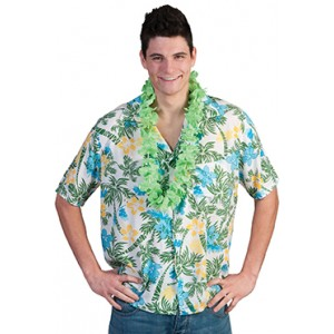 Wit/Groen Flower Power Shirt - Hawaii / Hippie - Kostuum man