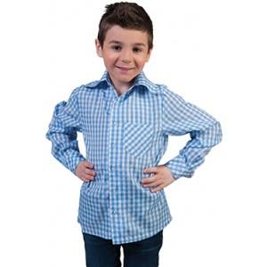 Geblokt shirt Blauw/wit - Verkleedkleding Kostuum Kind