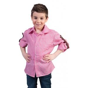 Geblokt shirt Roze/wit - Verkleedkleding Kostuum Kind