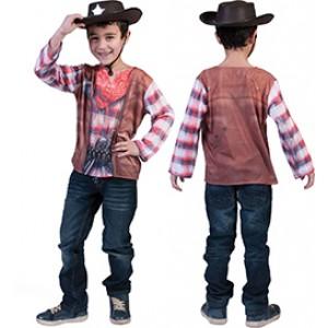 3D T-Shirt - Verkleedkleding Cowboys - Kostuum Kinderen