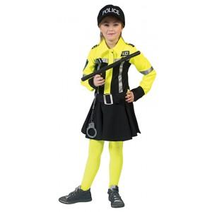 Gele Motoragent - Politie Verkleedkleding - Kostuum Meisje