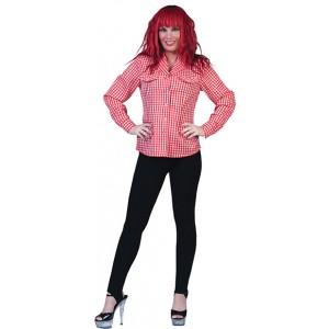 Geblokt shirt Rood/wit - Verkleedkleding Kostuum Vrouw