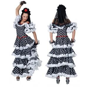 Spaanse Jurk Wit - Verkleedkleding Spanje  - Kostuum Vrouw