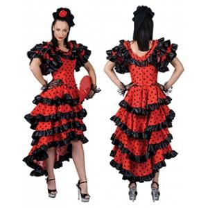 Spaanse Jurk Rood - Verkleedkleding Spanje - Kostuum Vrouw