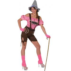 Tiroler Rosa Lederhose - Oktoberfest - Kostuum vrouw
