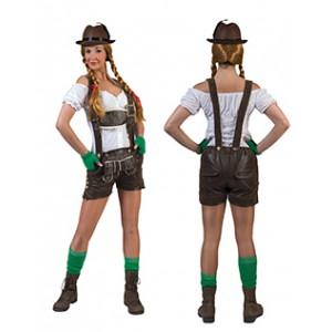 Bruine Lederhose Shorts - Oktoberfest - Kostuum Vrouw