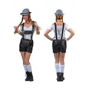 Zwarte Lederhose Shorts - Oktoberfest - Kostuum Vrouw