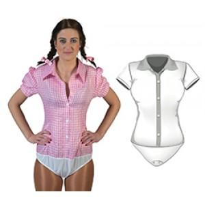 Geblokt shirt Roze/wit - Verkleedkleding Kostuum Vrouw