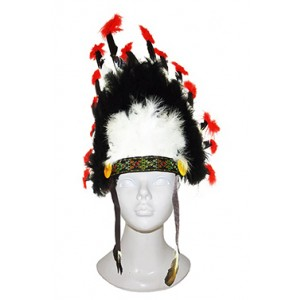 Hoge Indianentooi Zwart- Carnaval Verkleedkleding