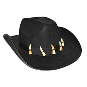 Leren Cowboy Hoed met Tanden - Cowboy Verkleedkleding
