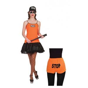 Politievrouw oranje - kostuum vrouw