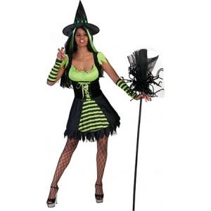 Groene Heks - Halloween Verkleedkleding - Kostuum Vrouw