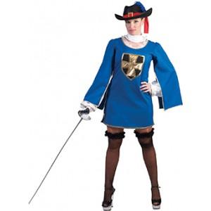 Blauwe Musketier Renaissance Verkleedkleding - Kostuum Vrouw