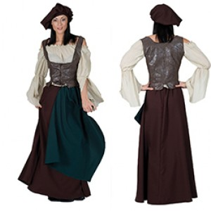 Herbergier - Middeleeuwen Verkleedkleding - Kostuum Vrouw