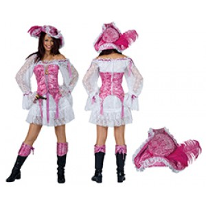 Roze Piraat Kapitein - Piraten Verkleedkleding Kostuum Vrouw