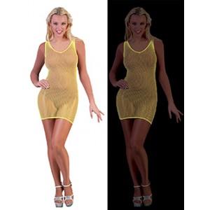 Net Jurk Neon Geel - Sexy verkleedkleding - kostuum vrouw