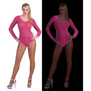 Net Bodysuit Neon Roze - Sexy verkleedkleding