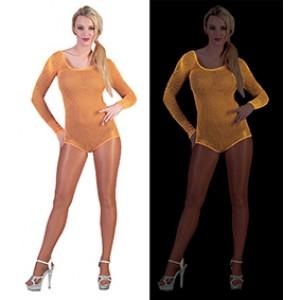 Net Bodysuit Neon Oranje - Sexy verkleedkleding