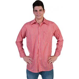 Geblokt shirt Rood/wit - Verkleedkleding Kostuum Man