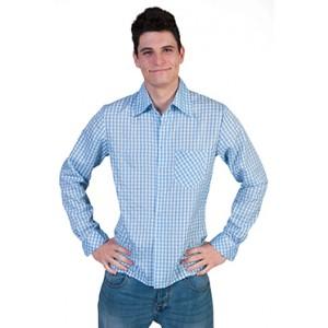 Geblokt shirt Blauw/wit - Verkleedkleding Kostuum Man
