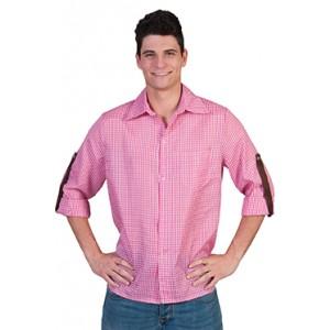 Geblokt shirt Roze/wit - Verkleedkleding Kostuum Man