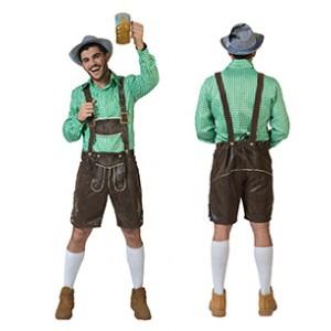 Geblokt shirt Groen/wit - Verkleedkleding Kostuum Man