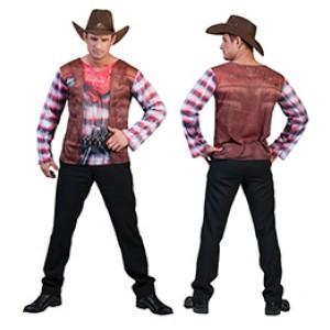 Cowboy 3D shirt - Cowboy verkleedkleding - Kostuum man