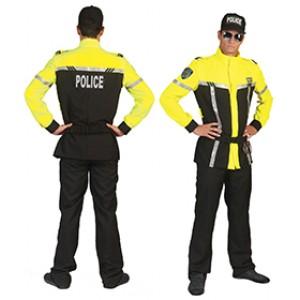 Motoragent Neon Geel - Politie verkleedkleding - Kostuum man