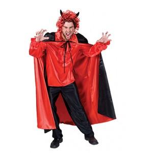 Omkeerbare Cape Merida Rood/Zwart Halloween- Kostuum Unisex