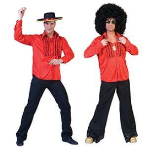 Rood 90s Shirt - Verkleedkleding Disco - Kostuum Man