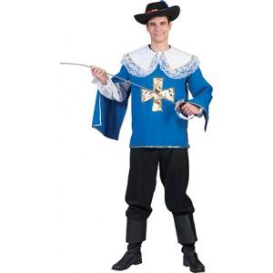 Blauwe Musketier Renaissance Verkleedkleding - Kostuum Man