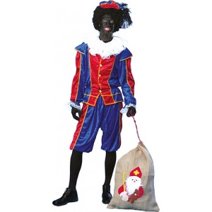 Piet Rood/Blauw - Sinterklaas Verkleedkleding Kostuum Unisex