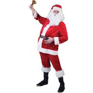 Velvet Kerstman - Kerst Verkleedkleding - Kostuum Man
