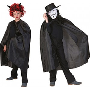 Zwarte Nylon Cape - Verkleedkleding Halloween - Kostuum Kind